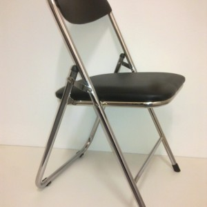 Black Padded Chrome Framed Folding Chair