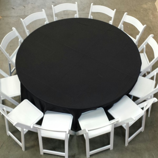 12 White Chairs Around 1.8m Round